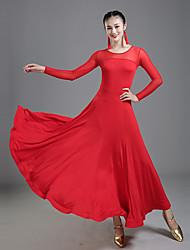 Недорогие -Бальные танцы Платья Жен. Выступление Молочное волокно Комбинация материалов Длинный рукав Средняя талия Платье