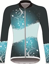Недорогие -21Grams Цветочные ботанический Жен. Длинный рукав Велокофты - Черный / синий Велоспорт Джерси Верхняя часть Устойчивость к УФ Дышащий Влагоотводящие Виды спорта Зима 100% полиэстер / Слабоэластичная