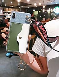 Недорогие -чехол для apple iphone xs / iphone xr / iphone xs max / 7 8 плюс 6splus 6 кошелек / держатель карты / противоударная задняя крышка сердце / блестящий блеск тпу
