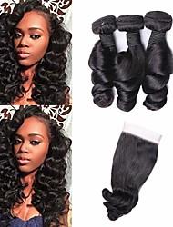 abordables -3 paquets avec fermeture Cheveux Péruviens Ondulation Lâche Cheveux Vierges Naturel Paquets de 100% Remy Hair Weave Tissages de cheveux humains Bundle cheveux One Pack Solution 8-20 pouce Couleur