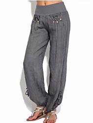 Недорогие -Жен. Уличный стиль Панталоны Брюки - Однотонный Черный Серый Винный XXXL XXXXL XXXXXL