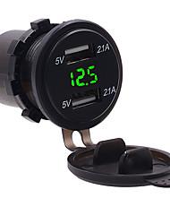 Недорогие -Авто быстрое зарядное устройство 5 В 4.2a Dual USB розетка водонепроницаемый адаптер зарядного устройства modelszh-772a3 4.2a Dual USB вольтметр