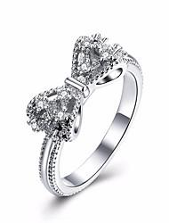 Недорогие -Винтаж ослепительно сверкающие бантом кольца из циркона для женщин обручальное кольцо обручальные вечеринки юбилей роскошные ювелирные изделия