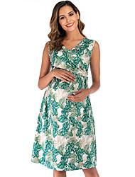 Недорогие -Жен. Элегантный стиль А-силуэт Платье - Цветочный принт, С принтом До колена Тропический лист