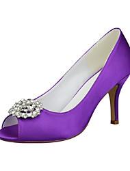 cheap -Women's Wedding Shoes Stiletto Heel Peep Toe Rhinestone / Sequin / Sparkling Glitter Satin Minimalism Spring &  Fall White / Purple / Light Purple