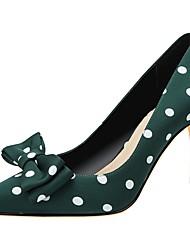 hesapli -Kadın's Topuklular Stiletto Topuk Sivri Uçlu Polyester İlkbahar & Kış Siyah / Yeşil