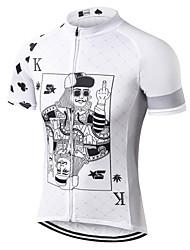 Недорогие -21Grams Покер Муж. С короткими рукавами Велокофты - Белый Велоспорт Джерси Верхняя часть Дышащий Влагоотводящие Быстровысыхающий Виды спорта Сетка Терилен Горные велосипеды Одежда / Слабоэластичная