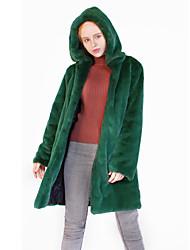billige -Dame Daglig / Arbeid / Strand Vinter Lang Faux Fur Coat, Ensfarget Med hette Langermet Fuskepels Svart / Vin / Lyseblå M / L / XL