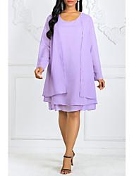 Недорогие -Жен. Большие размеры Из двух частей Платье - Однотонный Выше колена