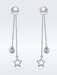 Недорогие -100% стерлингового серебра 925 блеск звезды имитация жемчуга длинные серьги падение для женщин ясно cz ювелирные изделия класса люкс brincos sce069