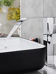 Недорогие -Ванная раковина кран - Водопад Хром По центру Одно отверстие / Одной ручкой одно отверстиеBath Taps