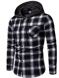 billige -Herre - Ruder Basale Skjorte Sort