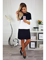 Недорогие -Жен. Прямое Платье - Контрастных цветов Выше колена Черное и белое