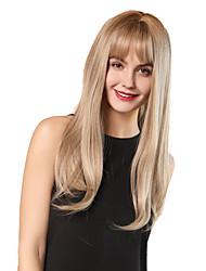 Недорогие -Парики из искусственных волос Чёлки Прямой Естественный прямой Стиль Аккуратная челка Без шапочки-основы Парик Блондинка Светло-золотой Темно-русый / Темно-русый Искусственные волосы 24 дюймовый Жен.