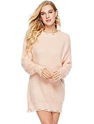 abordables -Femme Couleur Pleine Manches Longues Pullover, Col Arrondi Rose Claire / Bleu Taille unique