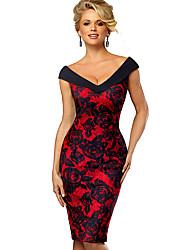 Недорогие -Жен. Изысканный Элегантный стиль Облегающий силуэт Оболочка Платье - Контрастных цветов, Пэчворк С принтом До колена