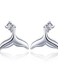 Недорогие -Горячие продажи 100% стерлингового серебра 925 русалка рыбий хвост небольшие серьги-гвоздики для женщин ювелирные изделия из стерлингового серебра подарок bse13059