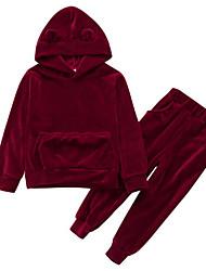 Недорогие -Дети Девочки Активный Уличный стиль На каждый день Спортивная одежда Однотонный Длинный рукав Обычный Набор одежды Красный