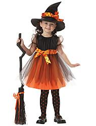 Недорогие -Дети (1-4 лет) Девочки Активный Однотонный Halloween Сетка С короткими рукавами До колена Платье Оранжевый