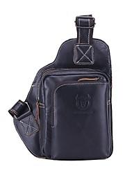 Недорогие -мужская кожаная сумка на молнии наппа черная / коричневая