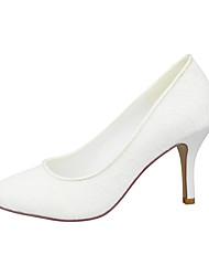 cheap -Women's Wedding Shoes Stiletto Heel Round Toe Satin Flower Satin Minimalism Fall & Winter White