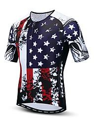 hesapli -JPOJPO Amerikan / ABD Ulusal Bayrak Erkek Kısa Kollu Bisiklet Forması - Kırmızı+Mavi Bisiklet Forma Üstler Nefes Alabilir Nem Emici Hızlı Kuruma Spor Dalları Polyester Elastane Terylene Da / Likra