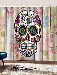Недорогие -Оптовая Hallowmas 3d цифровая печать красочные черепа с красивой текстурой окна занавес роскошный декор партии шторы готовые