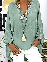 Недорогие -Жен. Большие размеры - Блуза V-образный вырез Свободный силуэт Однотонный Черный