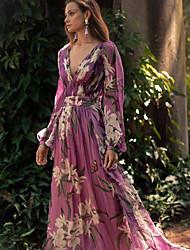 Недорогие -Жен. Элегантный стиль С летящей юбкой Платье - Цветочный принт, Цветочный стиль Глубокий V-образный вырез Макси
