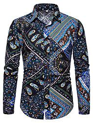 Недорогие -Муж. С принтом Рубашка Уличный стиль / Элегантный стиль Контрастных цветов / Графика Темно синий