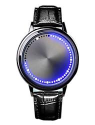 Недорогие -Муж. электронные часы Цифровой Кожа Черный Светодиодная лампа Повседневные часы Цифровой На каждый день Мода - Черный Серебряный