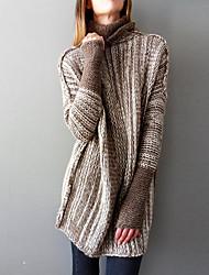 abordables -Femme Couleur Pleine Manches Longues Pullover, Col Ras du Cou Gris Clair / Gris / Kaki S / M / L