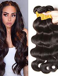 Недорогие -3 Связки Индийские волосы Волнистый Натуральные волосы Человека ткет Волосы Пучок волос 8-28 дюймовый Естественный цвет Ткет человеческих волос Лучшее качество Горячая распродажа Cool / 8A