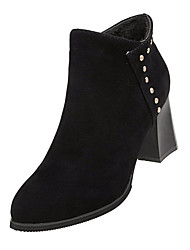 cheap -Women's Boots Block Heel Pointed Toe Rivet Suede Booties / Ankle Boots Casual / Minimalism Spring &  Fall / Fall & Winter Black / Khaki