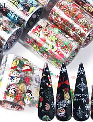 Недорогие -10 шт. Рождественские украшения для ногтей микс красочные передачи наклейки для ногтей фольги снежный цветок лось подарок санта клейкой бумаги