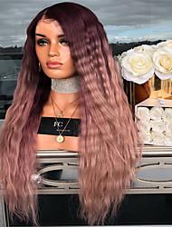 Недорогие -Парики из искусственных волос Естественные прямые Стиль Средняя часть Машинное плетение Парик Темно-красный Искусственные волосы 26 дюймовый Жен. Женский Темно-коричневый Парик Длинные