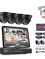 Недорогие -Sannce® 4ch 1080p lcd dvr система безопасности поддерживается 720p аналоговый ahd tvi ip-камера без hdd