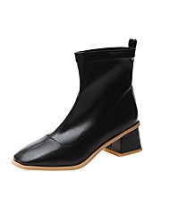 cheap -Women's Boots Chunky Heel Square Toe PU Mid-Calf Boots Minimalism Fall Black / Beige