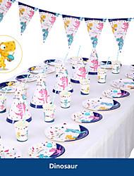 billige -baby shower bursdagsfest dinosaur tema fest dekorasjon forsyninger enhjørning papir kopp plate servise forsyninger