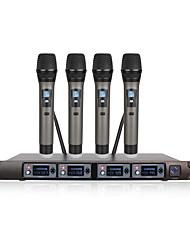 Недорогие -U-F4000 UHF один с четырьмя портативными беспроводными микрофонами для домашнего кинотеатра KTV песни пение школа встреча микрофон выступление на сцене