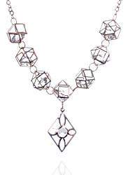 billige -Dame Hvit Kubisk Zirkonium Halskjede geometriske Blomst Mote Chrome Rose Gull 45+5 cm Halskjeder Smykker 1pc Til Daglig