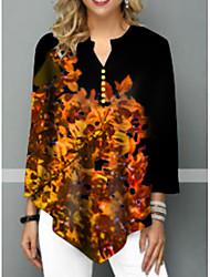 billige -T-skjorte Dame - Blomstret Svart