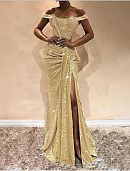 Недорогие -Жен. Элегантный стиль Оболочка Платье - Однотонный, Пайетки С открытыми плечами Блеск С открытыми плечами Макси
