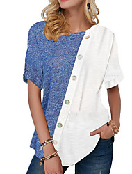 abordables -Chemise Femme, Bloc de Couleur Blanche