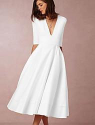 Недорогие -Жен. С летящей юбкой Платье - Однотонный Средней длины
