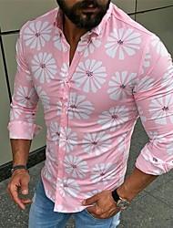Недорогие -Муж. Пэчворк / С принтом Рубашка Классический / Уличный стиль Цветочный принт Розовый