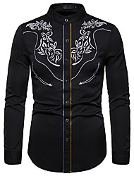 Недорогие -Муж. Вышивка Рубашка Винтаж Однотонный Белый Черный