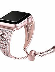 Недорогие -браслет из нержавеющей стали для яблочных часов 38мм / 40мм / 42мм / 44мм роскошный металлический алмазный горный хрусталь часы женщины ремешок для часов ремешок ремешок для яблок смотреть серии