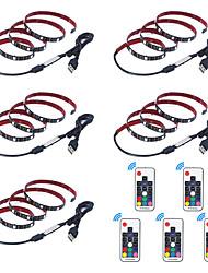 billige -1m Fleksible LED-lysstriper / RGB-lysstriper / Fjernkontroller 30 LED SMD5050 17-nøkkel fjernkontroll Multifarget Vanntett / USB / Fest 5 V 5pcs