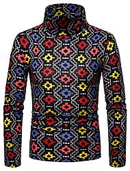 Недорогие -Муж. Геометрический принт Длинный рукав Пуловер, Вырез под горло Осень / Зима Черный / Красный US36 / UK36 / EU44 / US38 / UK38 / EU46 / US42 / UK42 / EU50